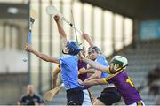 20 June 2018; Paul Crummey, left, and Seán Currie of Dublin in action against Garry Molloy, right, and Ian Carthy of Wexford during the Bord Gáis Energy Leinster GAA Hurling U21 Championship Semi-Final match between Dublin and Wexford at Parnell Park in Dublin. Photo by David Fitzgerald/Sportsfile