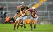 20 June 2018; Jack Fitzpatrick of Galway in action against Colum Prendiville of Kilkenny during the Bord Gáis Energy Leinster GAA Hurling U21 Championship Semi-Final match between Kilkenny and Galway at Bord Na Mona O'Connor Park in Tullamore, Co Offaly. Photo by Harry Murphy/Sportsfile