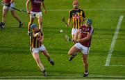 20 June 2018; Fintan Burke of Galway in action against John Donnelly of Kilkenny during the Bord Gáis Energy Leinster GAA Hurling U21 Championship Semi-Final match between Kilkenny and Galway at Bord Na Mona O'Connor Park in Tullamore, Co Offaly. Photo by Harry Murphy/Sportsfile