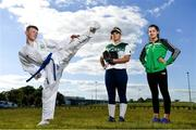 24 June 2018; The Olympic Council of Ireland held its Annual General Meeting today at the National Sports Campus in Dublin. The meeting saw the induction of three new National Governing Bodies for membership: Softball Ireland, Onakai and Mountaineering Ireland. Pictured at the event is karate athlete David Crilly, softball player Caitlyne De Lange, and mountaineer Jess McGarry. Photo by Ramsey Cardy/Sportsfile