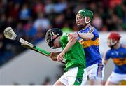 21 June 2018; Barry Murphy of Limerick is tackled by Brian McGrath of Tipperary during the Bord Gais Energy Munster Under 21 Hurling Championship Semi-Final match between Tipperary and Limerick at Semple Stadium in Thurles, Tipperary. Photo by Eóin Noonan/Sportsfile