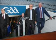 22 June 2018; President of the European Commission Jean-Claude Juncker accompanied by Uachtarán Chumann Lúthchleas Gael John Horan, right, during a visit to Croke Park in Dublin. Photo by Stephen McCarthy/Sportsfile