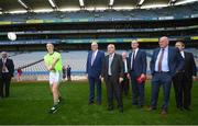 22 June 2018; Former Kilkenny hurler Henry Shefflin demonstrates hurling to President of the European Commission Jean-Claude Juncker in the company of European Commissioner for Agriculture Phil Hogan, Tánaiste Simon Coveney and Uachtarán Chumann Lúthchleas Gael John Horan during a visit to Croke Park in Dublin. Photo by Stephen McCarthy/Sportsfile