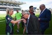 22 June 2018; President of the European Commission Jean-Claude Juncker kisses the hand of Stacey Cahill, Na Fianna Ladies, Kildare, during a visit to Croke Park in Dublin. Photo by Stephen McCarthy/Sportsfile