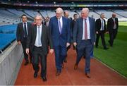 22 June 2018; President of the European Commission Jean-Claude Juncker, left, with Uachtarán Chumann Lúthchleas Gael John Horan, right, and European Commissioner for Agriculture Phil Hogan, centre, during a visit to Croke Park in Dublin. Photo by Stephen McCarthy/Sportsfile