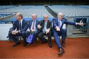 22 June 2018; President of the European Commission Jean-Claude Juncker, second from right, with Tánaiste Simon Coveney, left, Uachtarán Chumann Lúthchleas Gael John Horan and European Commissioner for Agriculture Phil Hogan, right, during a visit to Croke Park in Dublin. Photo by Stephen McCarthy/Sportsfile