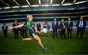 22 June 2018; Stacey Cahill, Na Fianna Ladies, Kildare, demonstrates Gaelic football to President of the European Commission Jean-Claude Juncker in the company of European Commissioner for Agriculture Phil Hogan, Tánaiste Simon Coveney and Uachtarán Chumann Lúthchleas Gael John Horan during a visit to Croke Park in Dublin. Photo by Stephen McCarthy/Sportsfile