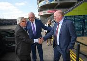 22 June 2018; President of the European Commission Jean-Claude Juncker is welcomed by Uachtarán Chumann Lúthchleas Gael John Horan, right, in the company of European Commissioner for Agriculture Phil Hogan, centre, during a visit to Croke Park in Dublin. Photo by Stephen McCarthy/Sportsfile