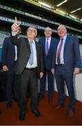 22 June 2018; President of the European Commission Jean-Claude Juncker points towards the big screen in the company of European Commissioner for Agriculture Phil Hogan and Uachtarán Chumann Lúthchleas Gael John Horan, right, during a visit to Croke Park in Dublin. Photo by Stephen McCarthy/Sportsfile