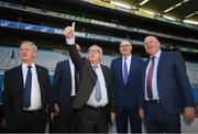 22 June 2018; President of the European Commission Jean-Claude Juncker gives a thumbs up in the company of European Commissioner for Agriculture Phil Hogan and Uachtarán Chumann Lúthchleas Gael John Horan, right, during a visit to Croke Park in Dublin. Photo by Stephen McCarthy/Sportsfile