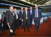 22 June 2018; President of the European Commission Jean-Claude Juncker with Croke Park Stadium Director Peter McKenna, left, Tánaiste Simon Coveney, European Commissioner for Agriculture Phil Hogan and Uachtarán Chumann Lúthchleas Gael John Horan, right, during a visit to Croke Park in Dublin. Photo by Stephen McCarthy/Sportsfile