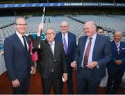 22 June 2018; President of the European Commission Jean-Claude Juncker receives a gift of a Hurley, in the company of Tánaiste Simon Coveney, left, European Commissioner for Agriculture Phil Hogan and Uachtarán Chumann Lúthchleas Gael John Horan, right, during a visit to Croke Park in Dublin. Photo by Stephen McCarthy/Sportsfile