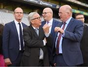 22 June 2018; President of the European Commission Jean-Claude Juncker in conversation with Uachtarán Chumann Lúthchleas Gael John Horan during a visit to Croke Park in Dublin. Photo by Stephen McCarthy/Sportsfile
