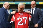 22 June 2018; President of the European Commission Jean-Claude Juncker is presented with a Cork GAA jersey, in the company of European Commissioner for Agriculture Phil Hogan, left, and Tánaiste Simon Coveney, right, during a visit to Croke Park in Dublin. Photo by Stephen McCarthy/Sportsfile