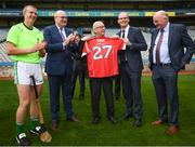 22 June 2018;  President of the European Commission Jean-Claude Juncker is presented with a Cork GAA jersey, in the company of, from left, former Kilkenny hurler Henry Shefflin, European Commissioner for Agriculture Phil Hogan, Tánaiste Simon Coveney and Uachtarán Chumann Lúthchleas Gael John Horan during a visit to Croke Park in Dublin. Photo by Stephen McCarthy/Sportsfile