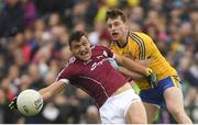 17 June 2018; Damien Comer of Galway in action against Niall McInerney of Roscommon during the Connacht GAA Football Senior Championship Final match between Roscommon and Galway at Dr Hyde Park in Roscommon. Photo by Piaras Ó Mídheach/Sportsfile