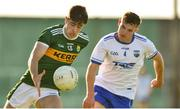22 June 2018; Donal O'Sullivan of Kerry in action against Liam Cooney of Waterford during the EirGrid Munster GAA Football U20 Championship semi-final macth between Kerry and Waterford at Austin Stack Park in Tralee, Kerry. Photo by Matt Browne/Sportsfile