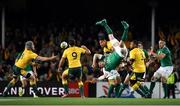 23 June 2018; Peter O'Mahony of Ireland contests a high ball with Israel Folau of Australia during the 2018 Mitsubishi Estate Ireland Series 3rd Test match between Australia and Ireland at Allianz Stadium in Sydney, Australia. Photo by Brendan Moran/Sportsfile