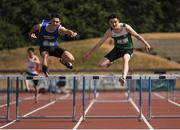 23 June 2018; Shane Ahern, left, of Rochestown College, Co. Cork, on his way to winning the Boys 400m Hurdles event ahead of Alan Miley of St. Kevins Dunlavin, Co. Wicklow, during the Irish Life Health Tailteann Games T&F Championships at Morton Stadium, in Santry, Dublin. Photo by Tomás Greally/Sportsfile