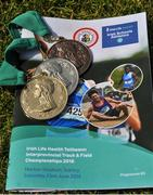 23 June 2018; A detailed view of the Tailteann Games Gold, Sliver and Bronze medals prior to the Irish Life Health Tailteann Games T&F Championships at Morton Stadium, in Santry, Dublin. Photo by Tomás Greally/Sportsfile