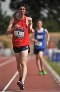 23 June 2018; Oisin Lane of Mercy, Ballymahon, Co. Longford, on his way to winning the Boys 3000m Walk event, during the Irish Life Health Tailteann Games T&F Championships at Morton Stadium, in Santry, Dublin. Photo by Tomás Greally/Sportsfile