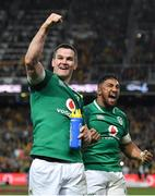 23 June 2018; Jonathan Sexton, left, and Bundee Aki of Ireland celebrate following the 2018 Mitsubishi Estate Ireland Series 3rd Test match between Australia and Ireland at Allianz Stadium in Sydney, Australia. Photo by Brendan Moran/Sportsfile