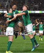 23 June 2018; Ireland players, from left, Jonathan Sexton, Bundee Aki, and Jordi Murphy celebrate following the 2018 Mitsubishi Estate Ireland Series 3rd Test match between Australia and Ireland at Allianz Stadium in Sydney, Australia. Photo by Brendan Moran/Sportsfile
