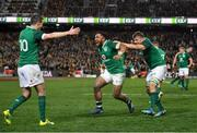 23 June 2018; Ireland players, from left, Jonathan Sexton, Bundee Aki, and Jordi Murphy celebrate at the final whistle of the 2018 Mitsubishi Estate Ireland Series 3rd Test match between Australia and Ireland at Allianz Stadium in Sydney, Australia. Photo by Brendan Moran/Sportsfile