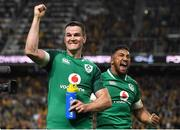 23 June 2018; Ireland players Jonathan Sexton, left, and Bundee Aki celebrate at the final whistle of the 2018 Mitsubishi Estate Ireland Series 3rd Test match between Australia and Ireland at Allianz Stadium in Sydney, Australia. Photo by Brendan Moran/Sportsfile