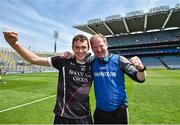 23 June 2018; Gerard O'Kelly-Lynch and Sligo joint-manager Daithí Hand celebrate following the Lory Meagher Cup Final match between Lancashire and Sligo at Croke Park in Dublin. Photo by David Fitzgerald/Sportsfile