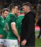 23 June 2018; Ireland captain Peter O'Mahony, right, with Jonathan Sexton after the 2018 Mitsubishi Estate Ireland Series 3rd Test match between Australia and Ireland at Allianz Stadium in Sydney, Australia. Photo by Brendan Moran/Sportsfile