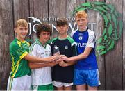 23 June 2018; Joint first place in the Boys Football competition, from left, Sean Doyle of St Nicholas GAA Club, Co. Wicklow, Eoin Loughran of St. Mary's Burren GAA Club, Co. Down, Paddy Kennedy of Galbally GAA Club, Co. Limerick, and Michael McSweeney of Knocknagree GAA Club, Co. Cork, are pictured with their trophy at the John West Skills Day in the National Sports Campus on Saturday 23rd June. The Skills Day is an opportunity for Ireland's rising football, hurling & camogie stars to show their skills as part of the John West Féile na nÓg and John West Féile na nGael competitions. At the National Sports Campus in Blanchardstown, Dublin. Photo by Seb Daly/Sportsfile