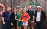 23 June 2018; Joint first place players in the Ladies Football competition, Ciara Smyth, left, of Skryne GAA Club, Co. Meath and Kiana Donnelly of Sarsfield GAA Club, Co. Armagh, are pictured with, from left, John Cunningham, National Féile Committee, Anne-Claire Monde, John West Marketing Manager, Tom Keane, National Féile Committee, and Chairman of Féile Brendan Brien, at the John West Skills Day in the National Sports Campus on Saturday 23rd June. The Skills Day is an opportunity for Ireland's rising football, hurling & camogie stars to show their skills as part of the John West Féile na nÓg and John West Féile na nGael competitions. At the National Sports Campus in Blanchardstown, Dublin. Photo by Seb Daly/Sportsfile