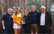 23 June 2018; Third place in the Ladies Camogie competition Orlagh Convery from Geraldines Camogie Club, Portglenone in Co. Antrim, is pictured with, from left, John Cunningham, National Féile Committee, Anne-Claire Monde, John West Marketing Manager, Tom Keane, National Féile Committee, and Chairman of Féile Brendan Brien, at the John West Skills Day in the National Sports Campus on Saturday 23rd June. The Skills Day is an opportunity for Ireland's rising football, hurling & camogie stars to show their skills as part of the John West Féile na nÓg and John West Féile na nGael competitions. At the National Sports Campus in Blanchardstown, Dublin. Photo by Seb Daly/Sportsfile