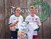 23 June 2018; Oisin Kelly from Delvin GAA Club in Co. Westmeath pictured with Dublin Camogie player Eve O'Brien at the John West Skills Day in the National Sports Campus on Saturday 23rd June. The Skills Day is an opportunity for Ireland's rising football, hurling & camogie stars to show their skills as part of the John West Féile na nÓg and John West Féile na nGael competitions. At the National Sports Campus in Blanchardstown, Dublin. Photo by Seb Daly/Sportsfile