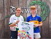 23 June 2018; Declan Mallon from Portaferry GAC in Co. Down pictured with Dublin Camogie player Eve O'Brien at the John West Skills Day in the National Sports Campus on Saturday 23rd June. The Skills Day is an opportunity for Ireland's rising football, hurling & camogie stars to show their skills as part of the John West Féile na nÓg and John West Féile na nGael competitions. At the National Sports Campus in Blanchardstown, Dublin. Photo by Seb Daly/Sportsfile