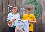 23 June 2018; Ronan Eager from St Endas GAA Club in Co. Antrim pictured with Dublin Camogie player Eve O'Brien at the John West Skills Day in the National Sports Campus on Saturday 23rd June. The Skills Day is an opportunity for Ireland's rising football, hurling & camogie stars to show their skills as part of the John West Féile na nÓg and John West Féile na nGael competitions. At the National Sports Campus in Blanchardstown, Dublin. Photo by Seb Daly/Sportsfile
