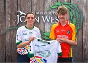 23 June 2018; Sean Dunfold from Tubber GAA Club in Co. Clare pictured with Dublin Camogie player Eve O'Brien at the John West Skills Day in the National Sports Campus on Saturday 23rd June. The Skills Day is an opportunity for Ireland's rising football, hurling & camogie stars to show their skills as part of the John West Féile na nÓg and John West Féile na nGael competitions. At the National Sports Campus in Blanchardstown, Dublin. Photo by Seb Daly/Sportsfile