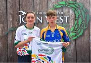 23 June 2018; Diarmuid Healy from Lisgoold GAA Club in Co. Cork pictured with Dublin Camogie player Eve O'Brien at the John West Skills Day in the National Sports Campus on Saturday 23rd June. The Skills Day is an opportunity for Ireland's rising football, hurling & camogie stars to show their skills as part of the John West Féile na nÓg and John West Féile na nGael competitions. At the National Sports Campus in Blanchardstown, Dublin. Photo by Seb Daly/Sportsfile