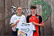 23 June 2018; Cameron Maher from St Kevin's GAA Club in Co. Louth pictured with Dublin Camogie player Eve O'Brien at the John West Skills Day in the National Sports Campus on Saturday 23rd June. The Skills Day is an opportunity for Ireland's rising football, hurling & camogie stars to show their skills as part of the John West Féile na nÓg and John West Féile na nGael competitions. At the National Sports Campus in Blanchardstown, Dublin. Photo by Seb Daly/Sportsfile