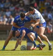 23 June 2018; Shane Carey, 26, and Neil McAdam of Monaghan in action against Stephen Prendergast of Waterford during the GAA Football All-Ireland Senior Championship Round 2 match between Waterford and Monaghan at Fraher Field in Dungarvan, Waterford. Photo by Daire Brennan/Sportsfile