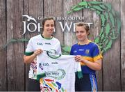 23 June 2018; Aine Leenane from Shannon Rovers GAA Club in Co. Tipperary pictured with Dublin Camogie player Grainne Quinn at the John West Skills Day in the National Sports Campus on Saturday 23rd June. The Skills Day is an opportunity for Ireland's rising football, hurling & camogie stars to show their skills as part of the John West Féile na nÓg and John West Féile na nGael competitions. At the National Sports Campus in Blanchardstown, Dublin. Photo by Seb Daly/Sportsfile