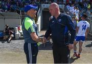 23 June 2018; Monaghan manager Malachy O'Rourke and Waterford manager Tom McGlinchey shake hands after the GAA Football All-Ireland Senior Championship Round 2 match between Waterford and Monaghan at Fraher Field in Dungarvan, Waterford. Photo by Daire Brennan/Sportsfile