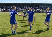 23 June 2018; Monaghan players Conor Boyle, left, and Owen Duffy celebrate after the GAA Football All-Ireland Senior Championship Round 2 match between Waterford and Monaghan at Fraher Field in Dungarvan, Waterford. Photo by Daire Brennan/Sportsfile
