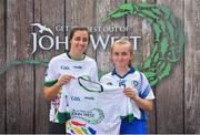 23 June 2018; Alannah O'Sullivan from Gailltír Camogie Club in Co. Waterford pictured with Dublin Camogie player Grainne Quinn at the John West Skills Day in the National Sports Campus on Saturday 23rd June. The Skills Day is an opportunity for Ireland's rising football, hurling & camogie stars to show their skills as part of the John West Féile na nÓg and John West Féile na nGael competitions. At the National Sports Campus in Blanchardstown, Dublin. Photo by Seb Daly/Sportsfile