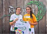 23 June 2018; Orlagh Convery from Geraldines Camogie Club, Portglenone in Co. Antrim pictured with Dublin Camogie player Grainne Quinn at the John West Skills Day in the National Sports Campus on Saturday 23rd June. The Skills Day is an opportunity for Ireland's rising football, hurling & camogie stars to show their skills as part of the John West Féile na nÓg and John West Féile na nGael competitions. At the National Sports Campus in Blanchardstown, Dublin. Photo by Seb Daly/Sportsfile