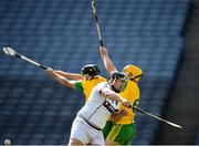 23 June 2018; Domhnall Nugent of Warwickshire in action against Seán McVeigh, right, and Ciaran Mathewson of Donegal during the Nicky Rackard Cup Final match between Donegal and Warwickshire at Croke Park in Dublin. Photo by David Fitzgerald/Sportsfile