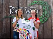 23 June 2018; Caoimhe Guerin Crowley from Rathmore GAA Club in Co. Kerry pictured with Roscommon Ladies Footballer Amanda McLoone at the John West Skills Day in the National Sports Campus on Saturday 23rd June. The Skills Day is an opportunity for Ireland's rising football, hurling & camogie stars to show their skills as part of the John West Féile na nÓg and John West Féile na nGael competitions. At the National Sports Campus in Blanchardstown, Dublin. Photo by Seb Daly/Sportsfile