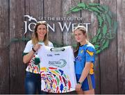 23 June 2018; Maria O'Neill from St Ergnats GAC, Moneyglass in Co. Antrim pictured with Roscommon Ladies Footballer Amanda McLoone at the John West Skills Day in the National Sports Campus on Saturday 23rd June. The Skills Day is an opportunity for Ireland's rising football, hurling & camogie stars to show their skills as part of the John West Féile na nÓg and John West Féile na nGael competitions. At the National Sports Campus in Blanchardstown, Dublin. Photo by Seb Daly/Sportsfile