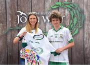 23 June 2018; Eoin Loughran of St. Mary's Burren GAA Club, Co. Down pictured with Roscommon Ladies Footballer Amanda McLoone at the John West Skills Day in the National Sports Campus on Saturday 23rd June. The Skills Day is an opportunity for Ireland's rising football, hurling & camogie stars to show their skills as part of the John West Féile na nÓg and John West Féile na nGael competitions. At the National Sports Campus in Blanchardstown, Dublin. Photo by Seb Daly/Sportsfile